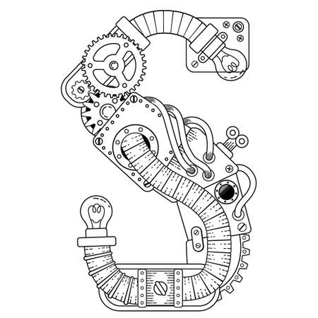 Vector Steampunk coloring book for adults. Mechanical letter alphabet made of metal gears and various details on white background. Capital letter S