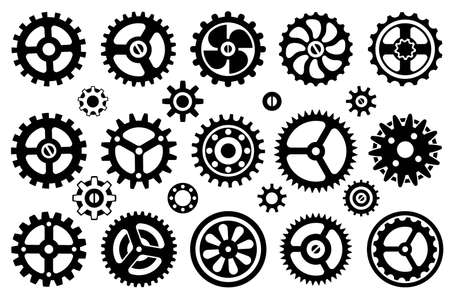 Icons set. Silhouette image of mechanisms, wheels and gears isolated on a white background