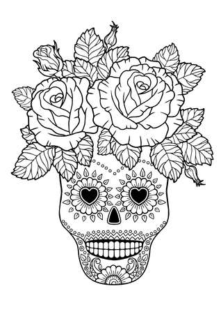 Day of the Dead, Sugar Skull. Vector Adult Coloring Book Vettoriali