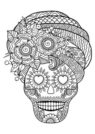 Day of the Dead, Sugar Skull. Vector Adult Coloring Book