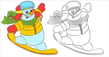 Vector funny snowman character dressed as santa snowboarding. Black and white outline for coloring books Ilustrace