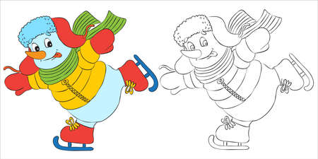 Vector funny snowman character dressed as santa skating. Black and white outline for coloring books