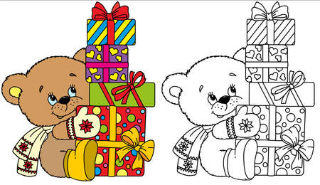 Vector funny bear dressed in a warm knitted hat, scarf and gloves sitting in front of gift boxes tied with red ribbons Ilustrace