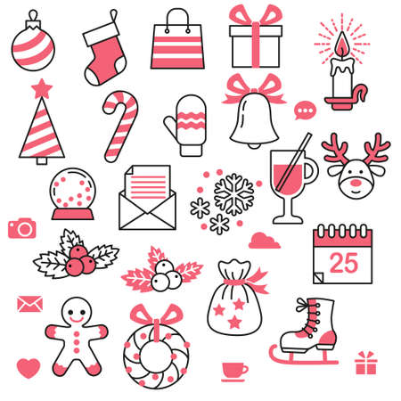 Vector icon set in minimalist style for christmas and new year design. Isolated elements on white background for pattern, gift paper. Simple contour style