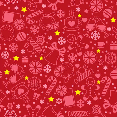 Seamless pattern with simple linear symbols of Christmas and New Year. Sweets, snowflakes and gingerbread men between snowflakes on a red background Illusztráció
