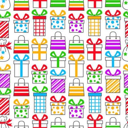 Seamless pattern with simple colored linear symbols of gift boxes with ribbons on a white background and colored spots. Design for black friday backgrounds and sales
