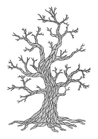 Coloring page for adults. Apple tree in winter