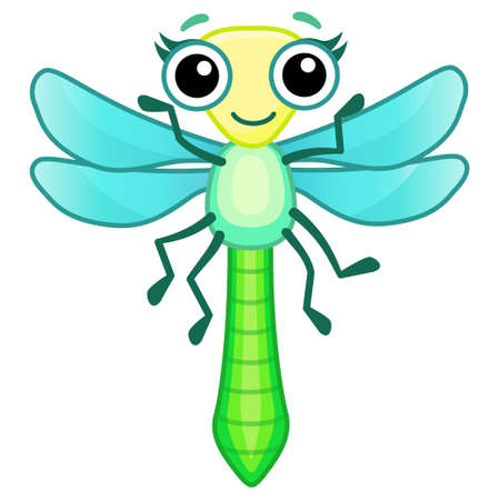 Funny dragonfly. Insect in a cartoon style