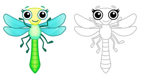Coloring Insect for children coloring book. Funny dragonfly in a cartoon style. Trace the dots and color the picture