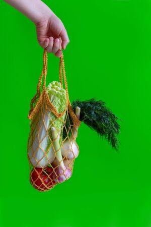 Hand on a green background holds a knitted bag with vegetables: tomatoes, garlic, potatoes, cabbage, onions Banco de Imagens