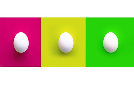 Collage of pink, yellow and green rectangles with three white chicken eggs.white background. Copy space. Top view