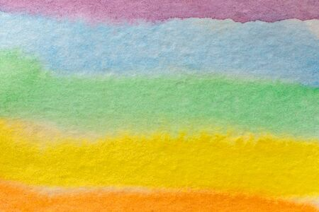 Rainbow watercolor paint stripe.Hand painted watercolor background. Watercolor wash. Abstract painting.
