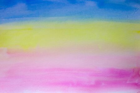 Striped watercolor background blue, yellow and pink. Hand painted watercolor background. Watercolor wash. Abstract painting.