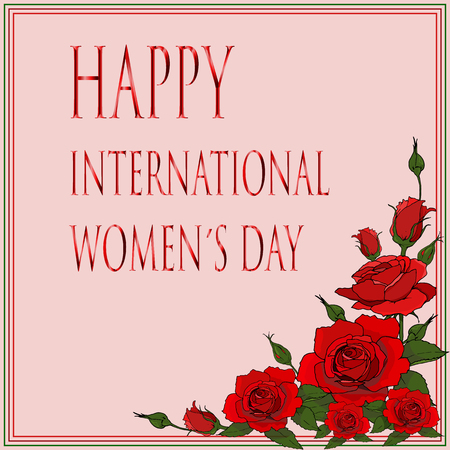 happy international women?s day card with red roses