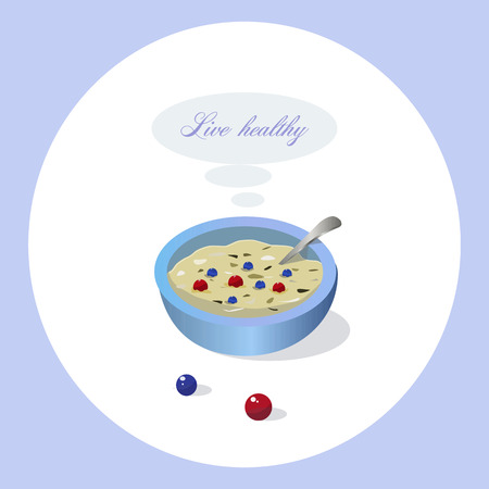 Simple illustration of plate with healthy food.