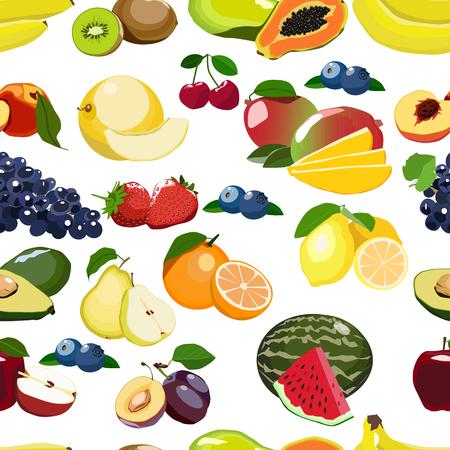 Fresh fruits seamless pattern isolated on white background. Stock Illustratie
