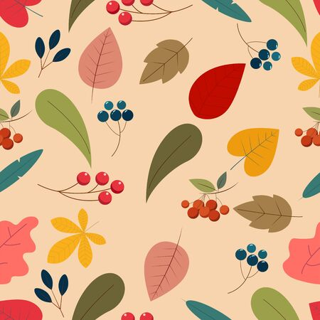 A cute simple flate autumn pattern. Beautiful decor for your designs