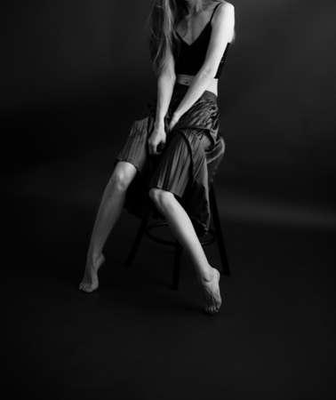 Black and white art fashion surrealistic portrait of beautiful woman, fashion studio portrait of beautiful model, details of body Banque d'images
