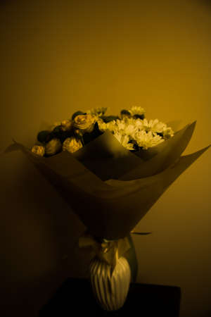 bouquet of fresh flowers on a neutral background, the concept of March 8 and mother's Day