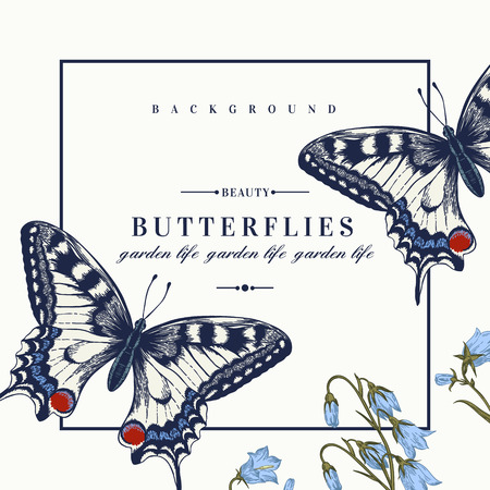 Vector card with butterflies and flowers. Vector