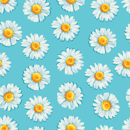 chamomile flower: Beautiful summer background with daisies flowers. Floral seamless pattern. Vector illustration.