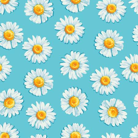 Mooie zomer achtergrond met madeliefjes bloemen. Bloemen naadloos patroon. Vector illustratie. Stock Illustratie