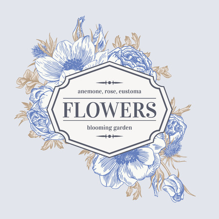 anemone: Vintage vector frame with summer flowers. Anemone, rose, eustoma, eryngium.
