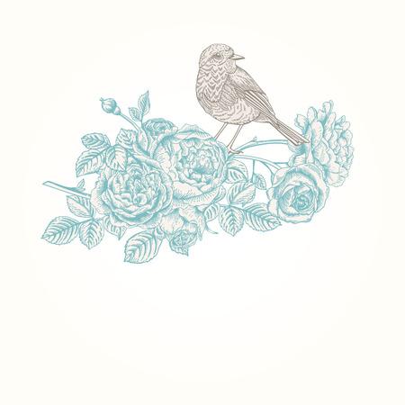 バラと鳥のベクトルのビンテージ背景。
