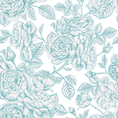 Seamless vector pattern with blue roses on a white background. Vector
