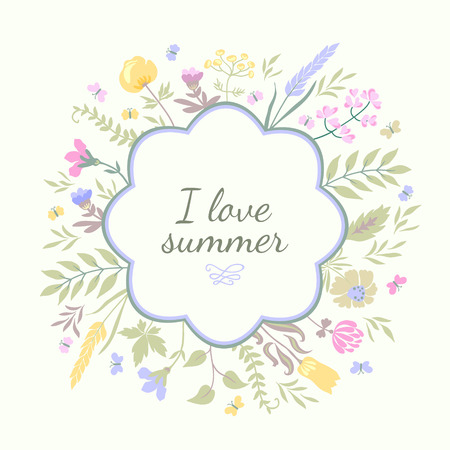 Cute greeting card with flowers and butterflies. Summer vector background. Vettoriali