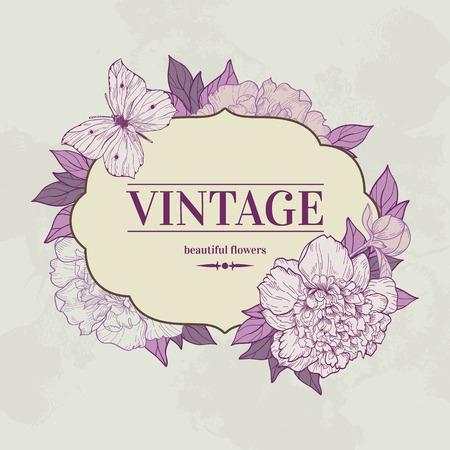 pfingstrosen: Weinlesehintergrund mit Pfingstrose und Schmetterling. Vektor-Illustration. Verwenden Sie für Einladungen, Grußkarten. Illustration