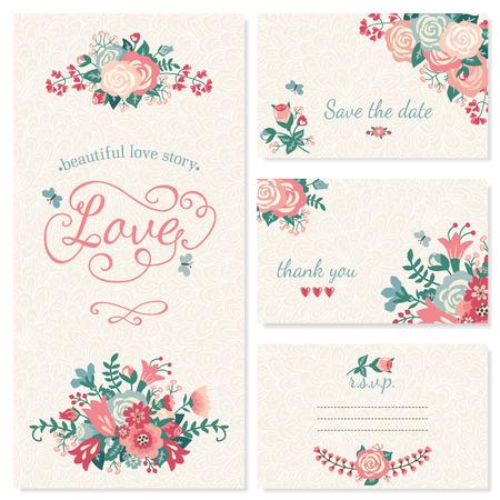 美しいビンテージ結婚式のセットです。結婚式招待状、お礼状、カードの日付を保存します。RSVP カード。