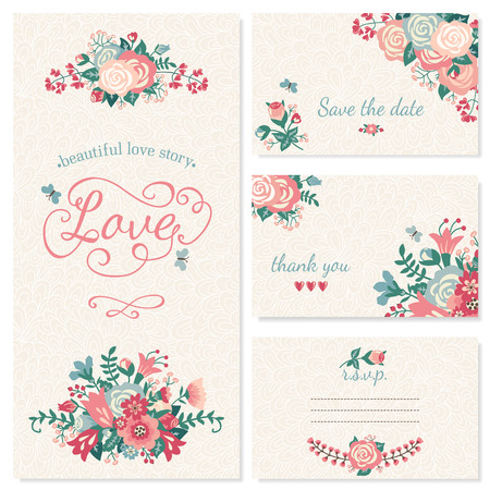 date: Beautiful vintage wedding set. Wedding invitation, thank you card, save the date cards. RSVP card.