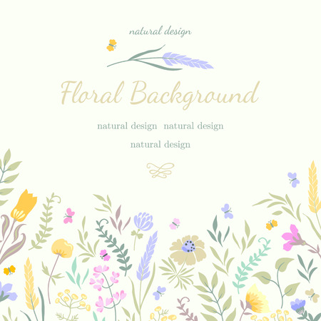 Cute vector summer card with colored flowers and herbs. Natural design. Suitable for invitation, greetings, packaging, ads.