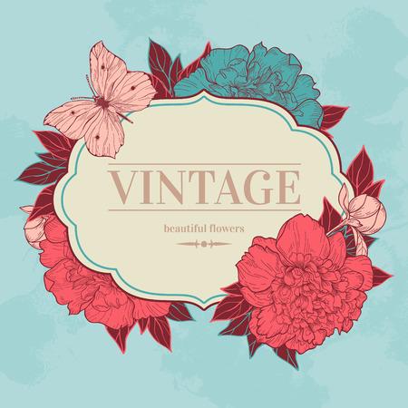 pfingstrosen: Vector Vintage Hintergrund mit Pfingstrosen und Schmetterling. Verwenden Sie f�r Einladungen, Gru�karten.