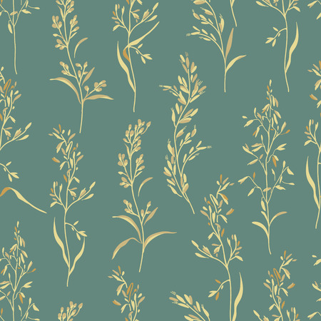 Vector seamless floral pattern with herbs. Vector