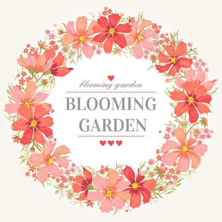 red floral: Vector round frame with pink flowers on white background in pastel colors.