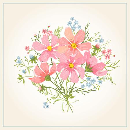 abstract flowers background: Greeting card with beautiful cute flowers on a white background. Vector illustration.