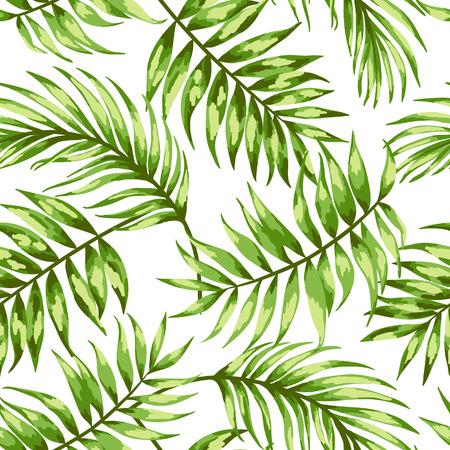 白い背景に熱帯の葉のシームレスなエキゾチックなパターン。ベクトルの図。ベクトルの図。