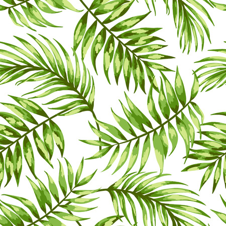 Seamless exotic pattern with tropical leaves on a white background. Vector illustration. Vector illustration.