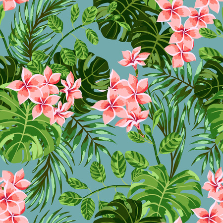 monstera: Seamless exotic pattern with tropical leaves and flowers. Vector illustration.