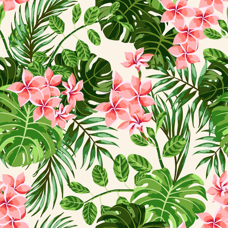 fashion pattern: Seamless exotic pattern with tropical leaves and flowers. Vector illustration.