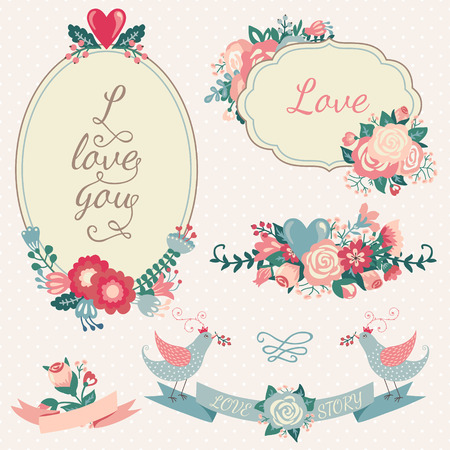 floral border frame: Vintage floral set. Hand drawn wedding collection with vector design elements such as ribbon, birds, flowers, frame, label on a white background. Pastel colors.