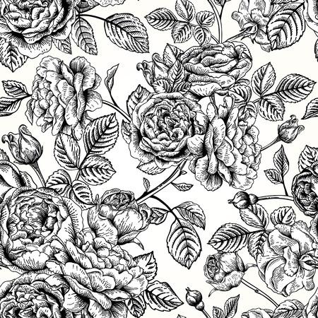 rosas negras: Vector el modelo inconsútil de la vendimia con las rosas inglesas. Ilustración blanco y negro.