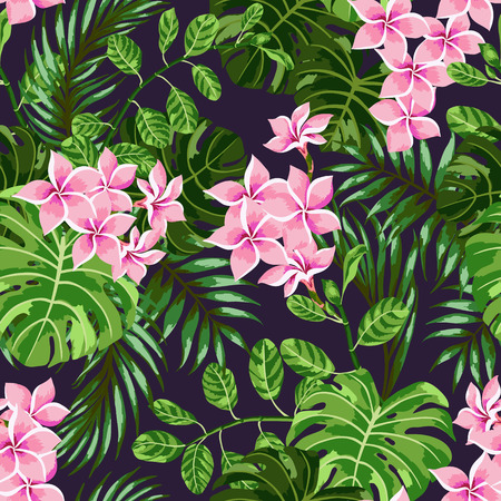 pink plumeria: Seamless exotic pattern with tropical leaves and flowers on a dark background. Vector illustration.