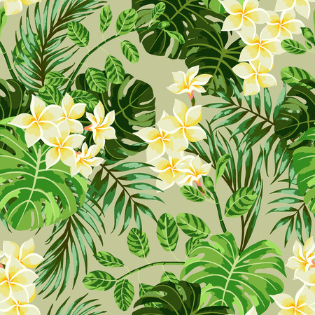 Seamless exotic pattern with tropical leaves and flowers on a beige background background. Vector illustration. Vettoriali