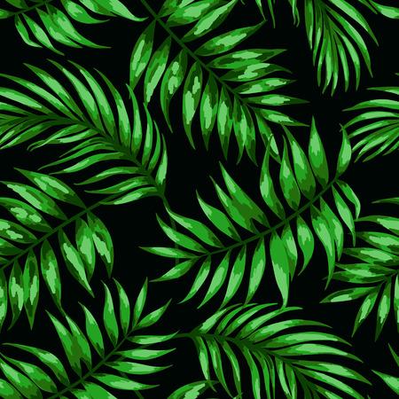 palmeras: Modelo inconsútil exótico con hojas tropicales sobre un fondo negro. Ilustración del vector. Ilustración del vector.