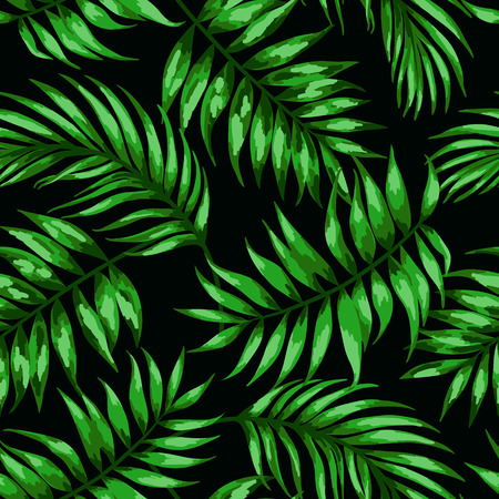 Seamless exotic pattern with tropical leaves on a black background. Vector illustration. Vector illustration.