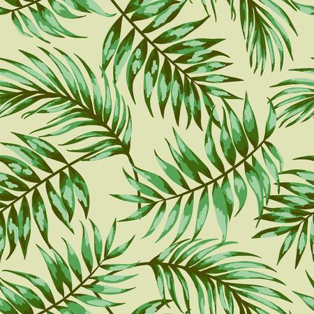 palmier: Motif exotique Seamless avec des feuilles tropicales sur un fond beige. Vector illustration. Vector illustration.