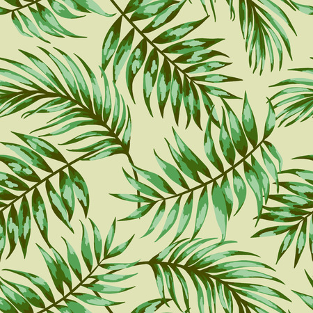Seamless exotic pattern with tropical leaves on a beige background. Vector illustration. Vector illustration. Çizim